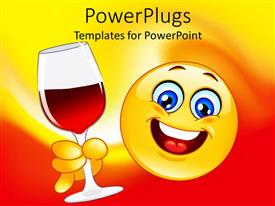 PPT theme featuring animated big yellow smiley face holding a wine glass