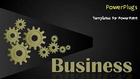 Presentation theme having animated business background with connected cogwheels rolling - widescreen format
