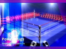 Elegant presentation theme enhanced with animated depiction of blue boxing ring with spotlights