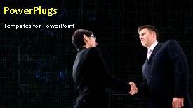 PPT layouts having animated depiction of business agreement with two men shaking hands - widescreen format