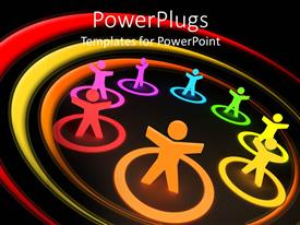PPT theme with animated depiction of eights multi colored human figures in circles