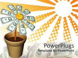 Colorful PPT layouts having animated depiction of a flower pot with dollar bills as flowers