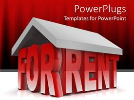 Colorful theme having animated depiction of a house formed by FOR RENT text
