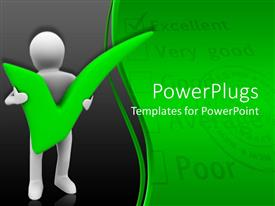 PPT theme enhanced with animated depiction of a human figure carrying a green pass mark