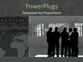 PPT theme consisting of animated depiction of human figures having a business meeting