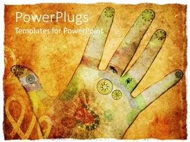 Elegant PPT theme enhanced with animated depiction of a human hand with different colorful drawings