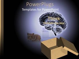 PPT layouts having animated depiction of an open box with a brain and a cat