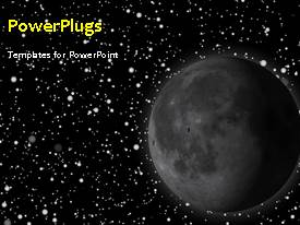 PPT theme with animated depiction of the solar system with moon and stars