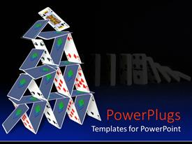 Beautiful PPT theme with animated depiction of a stack of cards and domino's