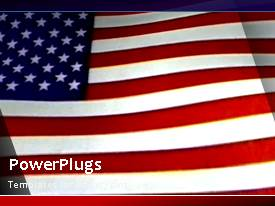 Audience pleasing theme featuring animated depiction of wind blowing American flag on blue surface
