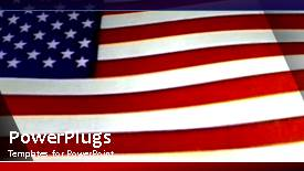 Slide set enhanced with animated depiction of wind blowing American flag on blue surface - widescreen format