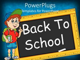 Beautiful PPT layouts with animated figure of a boy dressed for school with a chalk board