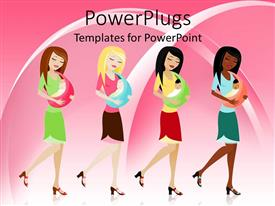 PPT theme featuring animated four colorful ladies holding their babies in a sling