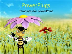 Colorful presentation theme having animated honey bee holding a purple flower as an umbrella