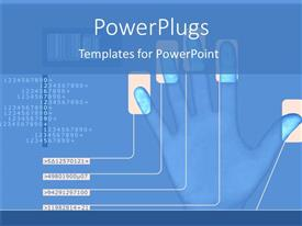 Presentation theme enhanced with animated human hand showing five finger prints and figures