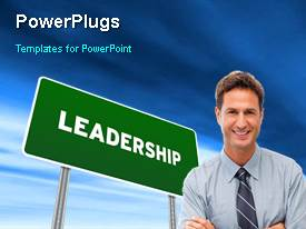 PPT theme with animated leadership depiction with green leadership signpost and young smiling professional
