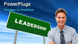 Colorful slide deck having animated leadership depiction with green leadership signpost and young smiling professional - widescreen format