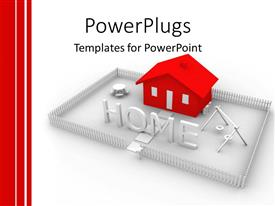 Elegant presentation theme enhanced with animated red house in  silver colored yard with the text HOME in front