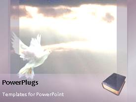 Colorful PPT layouts having animated religious background with word Hope, Forgiveness and white dove in sky