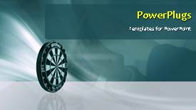 Presentation theme enhanced with animated success depiction with dart hitting bulls eye of target - widescreen format