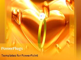 Colorful presentation design having animated wedding depiction with gold ring and large heart shape