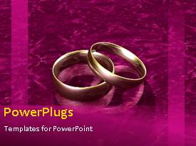 Amazing PPT layouts consisting of animated wedding depiction with gold wedding ring on purple bacground
