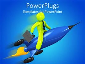PPT layouts with animation of a business man riding a blue jet