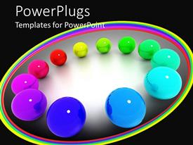 Elegant slide deck enhanced with animation of different colored shiny balls arranged in a circle
