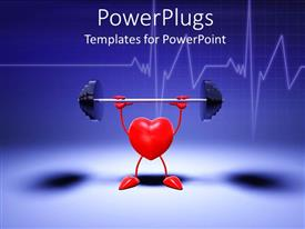 Beautiful PPT theme with animation of a red heart lifting a weight with blue background