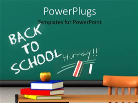 Presentation theme enhanced with apple on book pile with words back to school on chalkboard