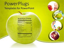 Elegant presentation design enhanced with apple nutrition facts, apple with measuring tape, A+ apple, delicious red apple