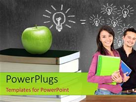 Colorful PPT theme having an apple over a bunch of books and students with number of light bulbs on chalk board in background