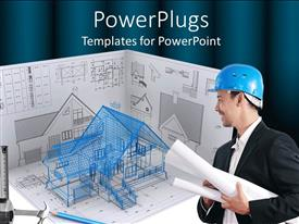Audience pleasing presentation theme featuring architectural designs with architect carrying residential building plan