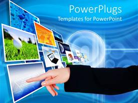 PPT layouts enhanced with arm with finger pointing to screens flying into the distance, technology,