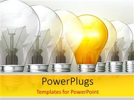 PPT layouts having an arranged row of light bulbs with a lit one in the middle