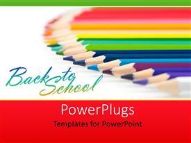 Colorful slide deck having array of colored crayons over white background depicting learning
