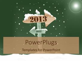 Amazing PPT theme consisting of the arrow pointing towards the new year with greenish background