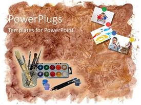 Slide deck enhanced with art tools, paint brush, color palette, pencil and art work