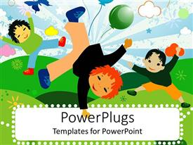 Colorful presentation design having artwork of three cute children dancing and playing