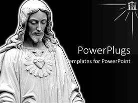 Audience pleasing slide deck featuring ash colored statue on Jesus on a black background
