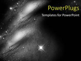 PPT layouts having aSpace Travel background with stars and galaxy in black and white