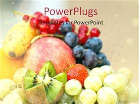Colorful PPT layouts having assortment of fresh fruits, apple, kiwi, red grapes, blue grapes, green grapes, strawberry