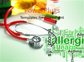 PPT layouts featuring asthma and allergy word collage with stethoscope, syringes and medicines
