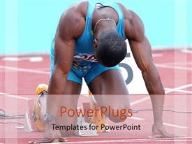 Elegant presentation theme enhanced with athlete in position on track ready to start race
