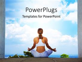 Presentation design consisting of an athletic fitness lady practicing yoga in between two pillars