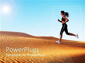 Colorful theme having athletic woman running on sand dunes with light blue sky background