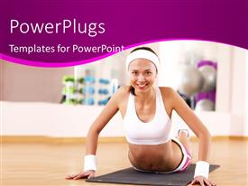 Colorful presentation having attractive young lady exercising on gym mat in gym