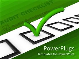 Audience pleasing PPT layouts featuring audit checklist with green tick in bright green background