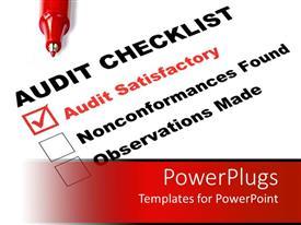 Slide set having audit checklist ticked on audit satisfactory