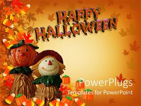 Theme with autumn background with happy Halloween sign and two dolls